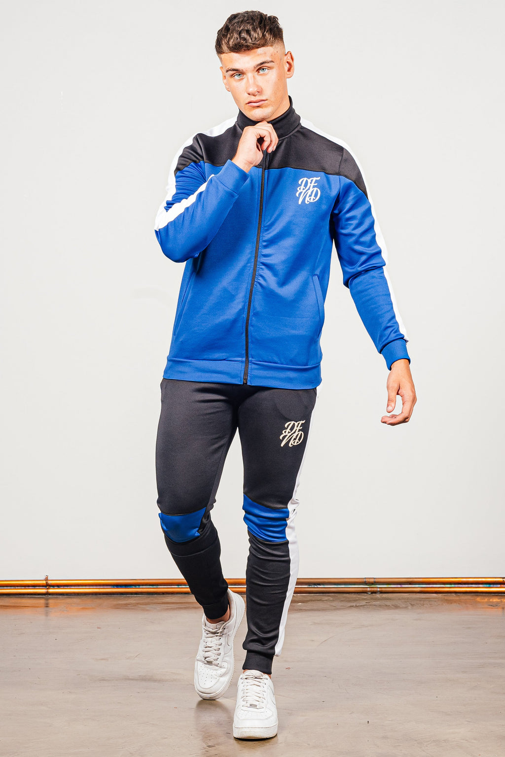 Men's Cruz Tracksuit in Blue & Black - DEFEND LONDON