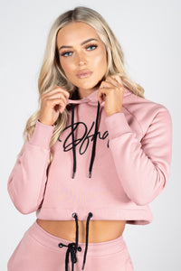 Women's Bright Cropped Hoodie in Pink - DEFEND LONDON