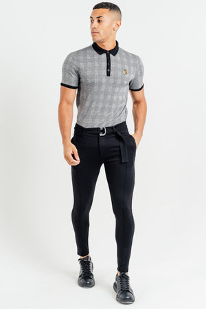 Men's Check Polo T-Shirt in Grey