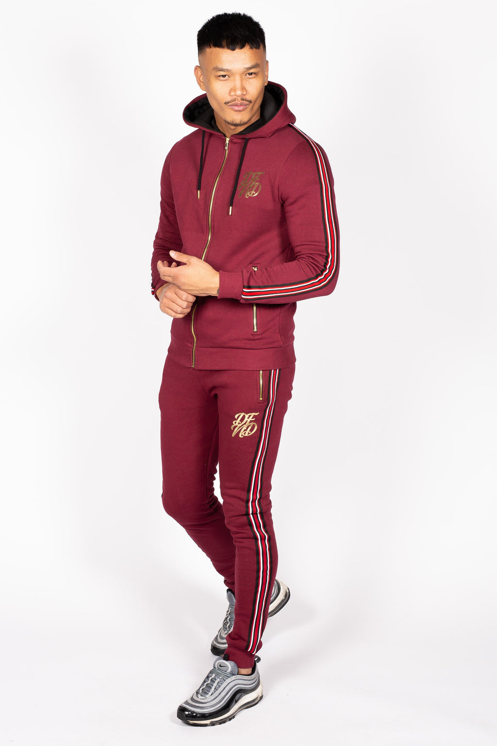 Men's Baller Tracksuit in Burgundy - DEFEND LONDON