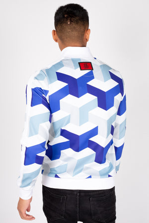 Men's Zonda Track Top in White & Blue - DEFEND LONDON