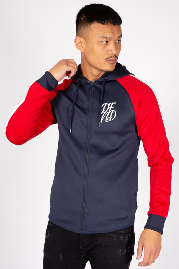 Men's Flexin Hoodie in Navy & Red - DEFEND LONDON