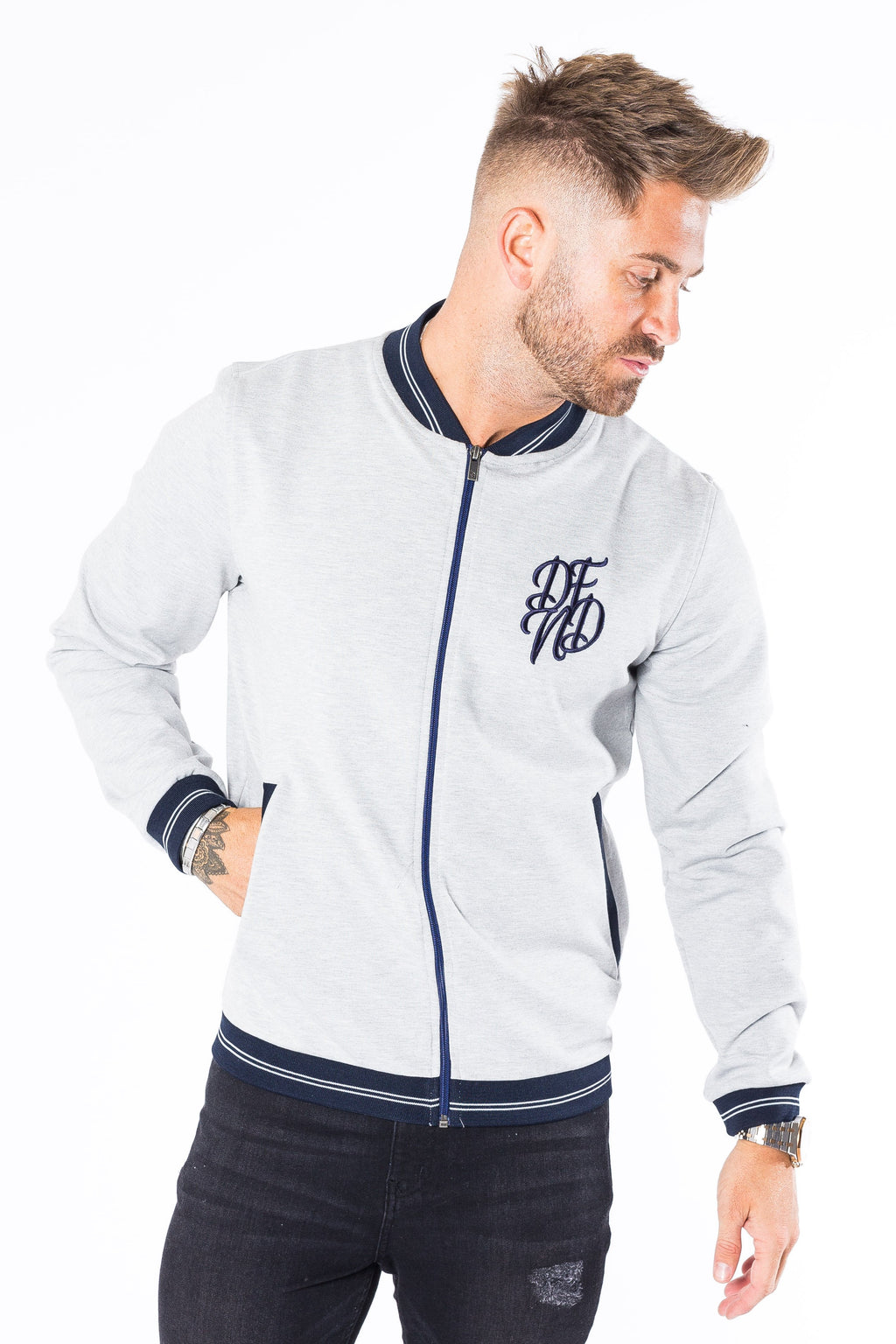 Men's Bomber Track Top in Grey - DEFEND LONDON