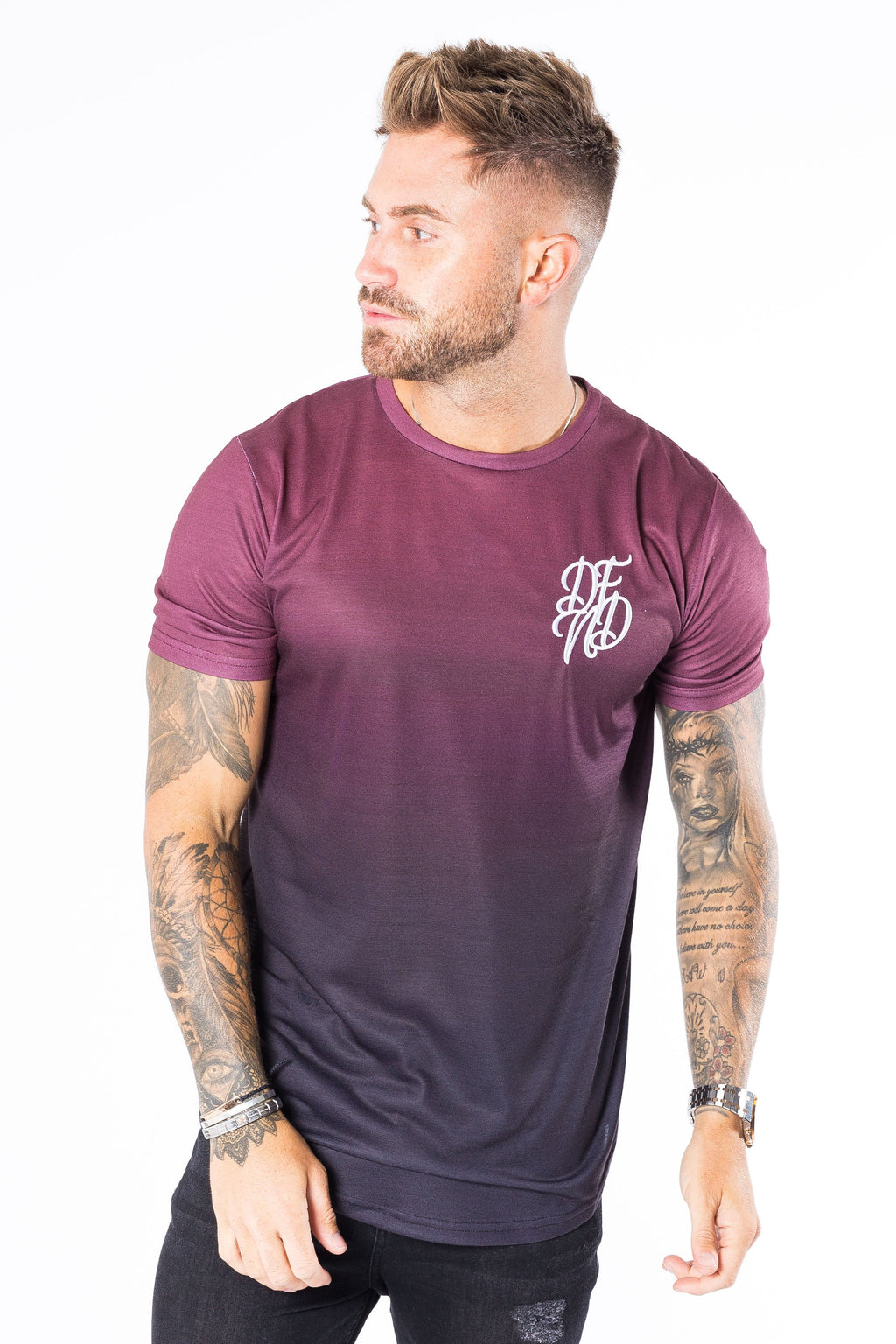 Men's Sideway T-Shirt in Burgundy - DEFEND LONDON