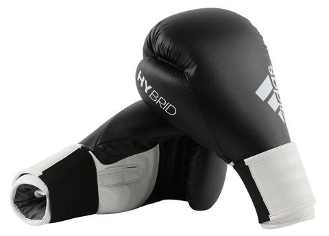 adidas Hybrid 100 Velcro Boxing Gloves Black/White - 12oz