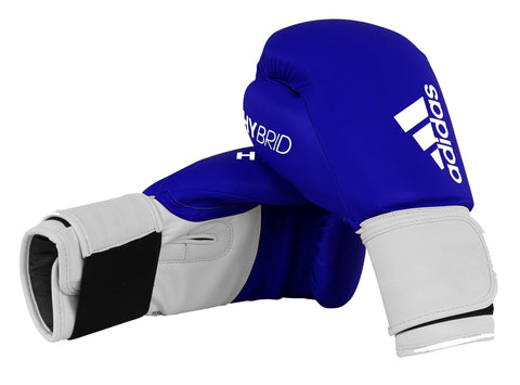 adidas Hybrid 100 Velcro Boxing Gloves Blue/White - 8oz