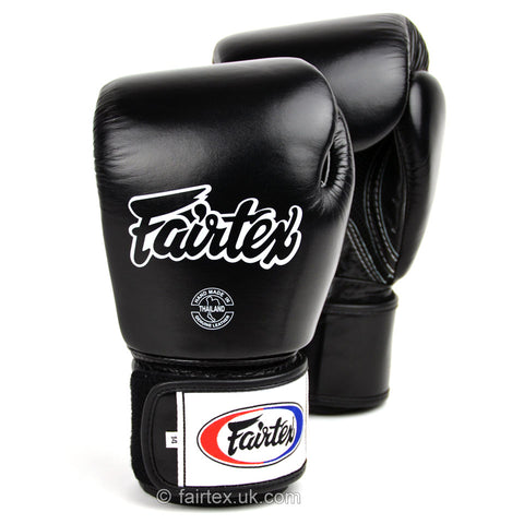 Fairtex BGV1-B Breathable Velcro Boxing Gloves Black - 16 oz