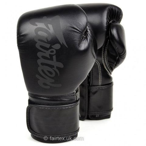 Fairtex BGV14 Lightweight Microfibre Velcro Boxing Gloves Black - 12oz