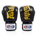 Fairtex BGV19 Deluxe Tight Fit Velcro Boxing Gloves Black - 12 oz