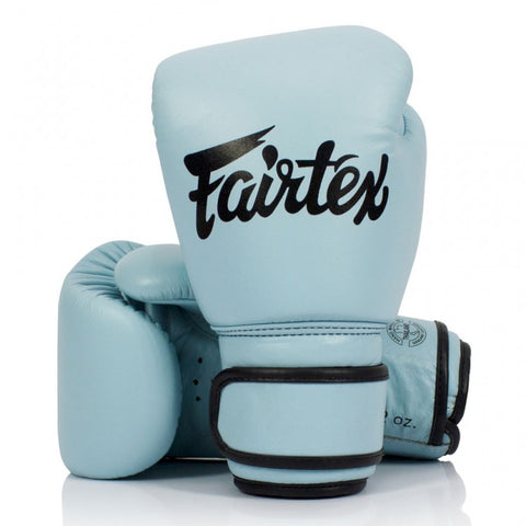 Fairtex BGV20 Leather Velcro Boxing Gloves Pastel Blue - 12oz