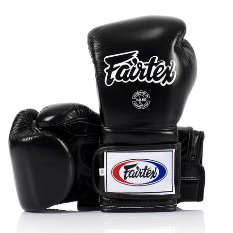 Fairtex BGV9 Mexican Style Velcro Boxing Gloves Black -16oz