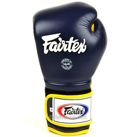 Fairtex BGV9 Mexican Style Velcro Boxing Gloves Blue/Yellow - 12oz