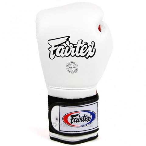 Fairtex BGV9 Mexican Style Velcro Boxing Gloves White/Red - 16oz