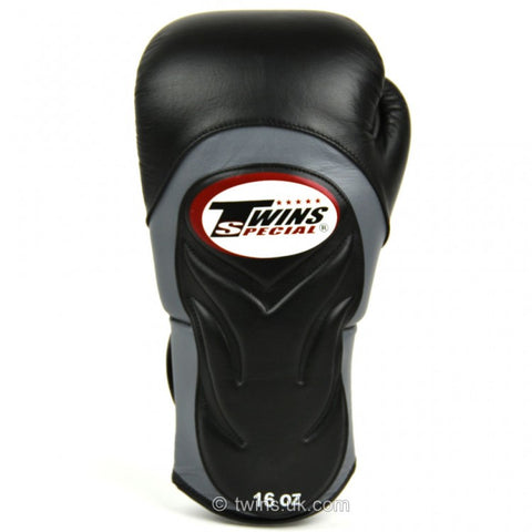 Twins BGVL6 Deluxe Velcro Sparring Gloves Black/Grey - 16oz