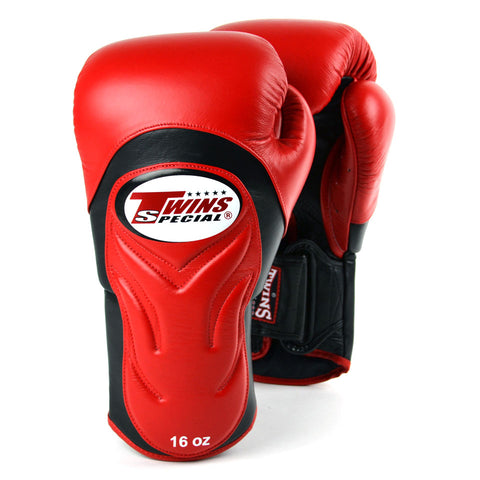 Twins BGVL6 Deluxe Velcro Sparring Gloves Red/Black - 14oz