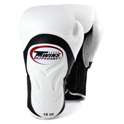 Twins BGVL6 Deluxe Velcro Sparring Gloves White/Black - 14oz