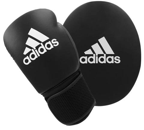 adidas Boxing Gloves and Focus Mitts Set Black - Adult 10oz