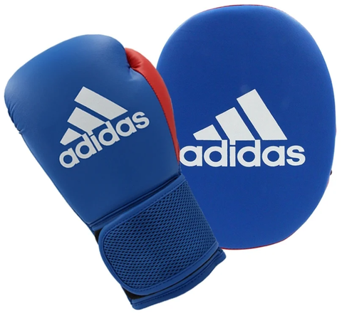 adidas Boxing Gloves and Focus Mitts Set Blue/Red - Kids 6oz