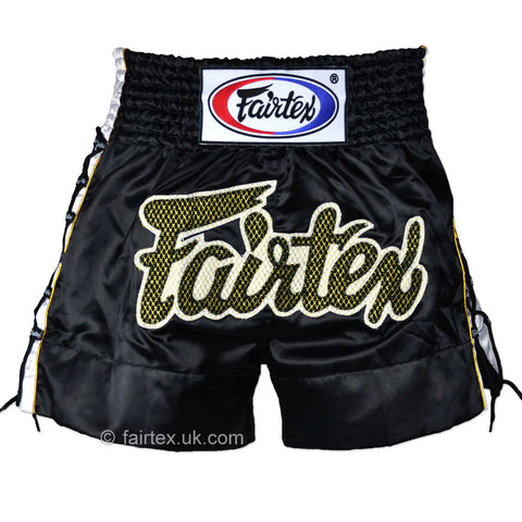 Fairtex BS0601 Laced Sides Muay Thai Shorts Black - Medium