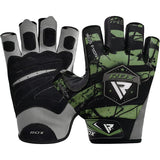 RDX F11 Camouflage Gym Workout Gloves Green - Large