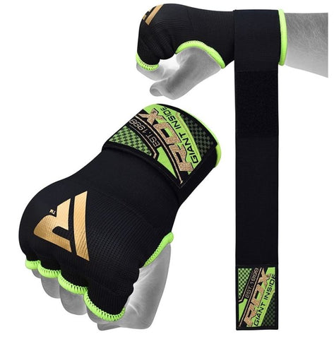 RDX 75cm Gel Inner Gloves with Wrist Strap - Black/Green - Large