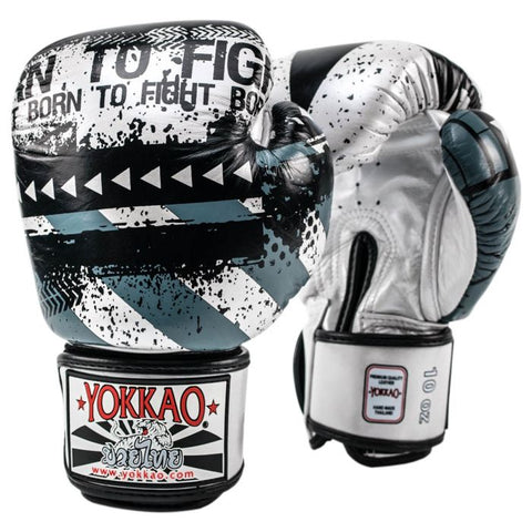Yokkao Hustle Muay Thai Boxing Gloves Silver/Black - 12oz