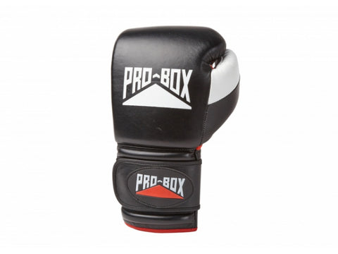 Pro-Box Pro Spar Leather Velcro Gloves Black - 16oz