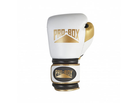 Pro-Box Special Edition Pro Spar Leather Velcro Gloves White/Gold - 14oz