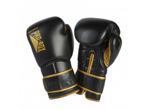 Pro-Box New Speed Lite Velcro Sparring Gloves Gunmetal/Gold - 14oz