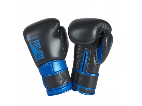 Pro-Box New Speed Lite Velcro Sparring Gloves Gunmetal/Blue - 14oz