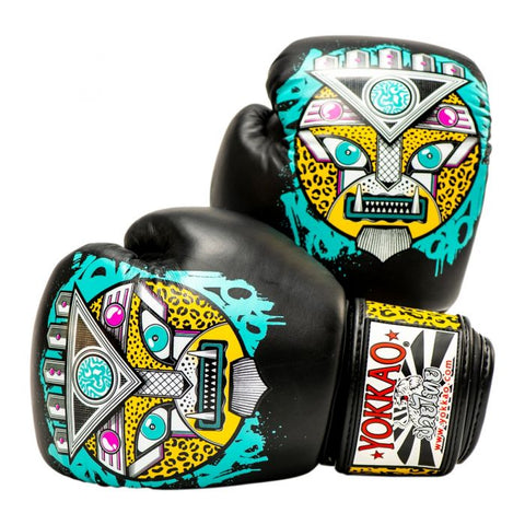 Yokkao Apex Leopard Muay Thai Boxing Gloves Black/Turquoise - 14oz