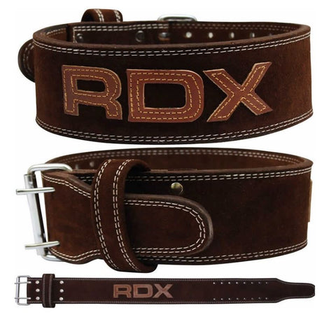 RDX 4 Inch Leather Weight Lifting Belt - Brown - Medium
