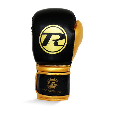 Ringside Pro Fitness Synthetic Leather Velcro Glove Black/Gold - 16oz