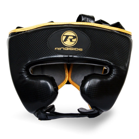 Ringside Pro Fitness Head Guard Synthetic Leather Metallic Black/Gold - Medium
