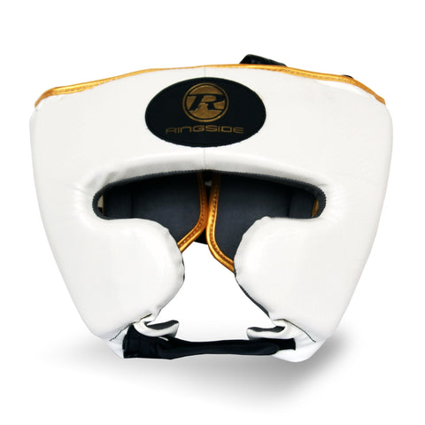 Ringside Pro Fitness Head Guard Synthetic Leather Metallic White/Black/Gold - Medium