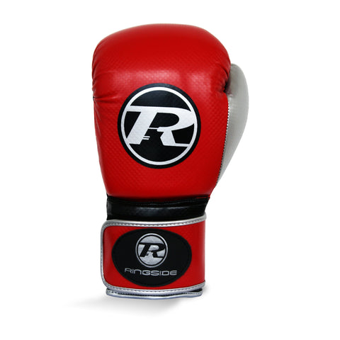 Ringside Pro Fitness Synthetic Leather Velcro Glove Red/Black/Silver - 14oz
