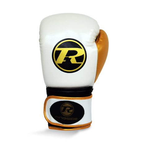 Ringside Pro Fitness Synthetic Leather Velcro Glove White/Black/Gold - 16oz
