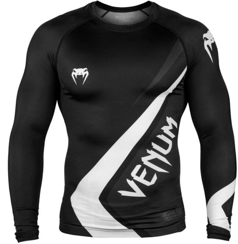 Venum Contender 4.0 Long Sleeve Rash Guard Black/White/Grey- Medium