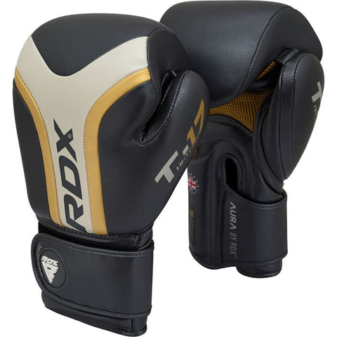 RDX T17 Aura Boxing Gloves - Black/Gold/Pearl - 16oz