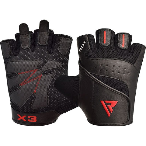 RDX S2 Weight Lifting Gym Gloves Black/Red - XL