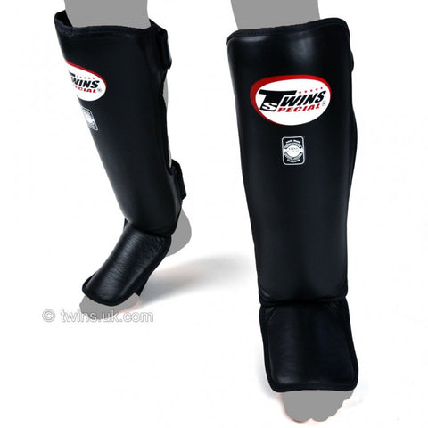 Twins SGL3 Slim Padded Leather Shin Pads Black - Large