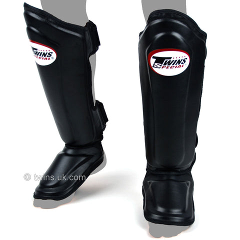 Twins SGL10 Double Padded Leather Shin Pads Black - Large