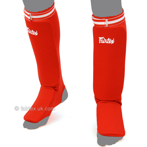 Fairtex SPE Elastic Competition Shin Pads - Red