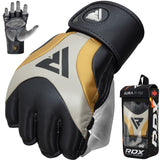 RDX T17 Aura MMA Grappling Gloves - Black/Gold/Pearl - Large