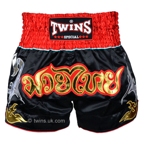 Twins TWS-005 Muay Thai Shorts Black/Red - Medium