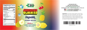 MJ Awesome SMOOTH Gummies CBD Gummy Bears 500mg (Melatonin)