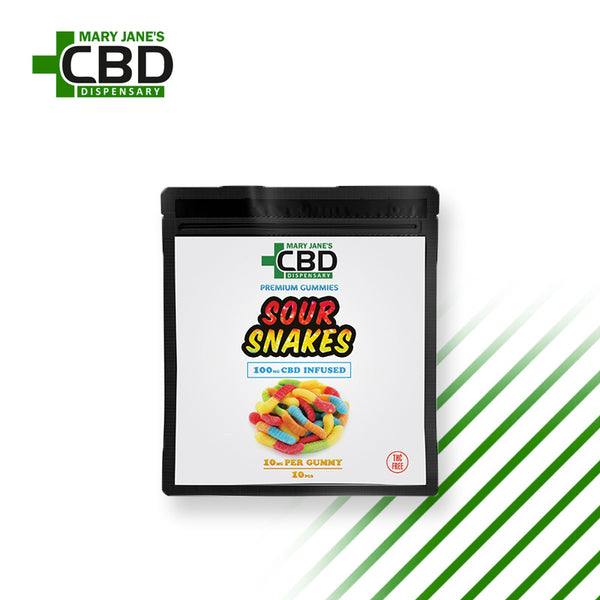 Premium Gummies 10 Pieces CBD Sour Snakes (100mg)