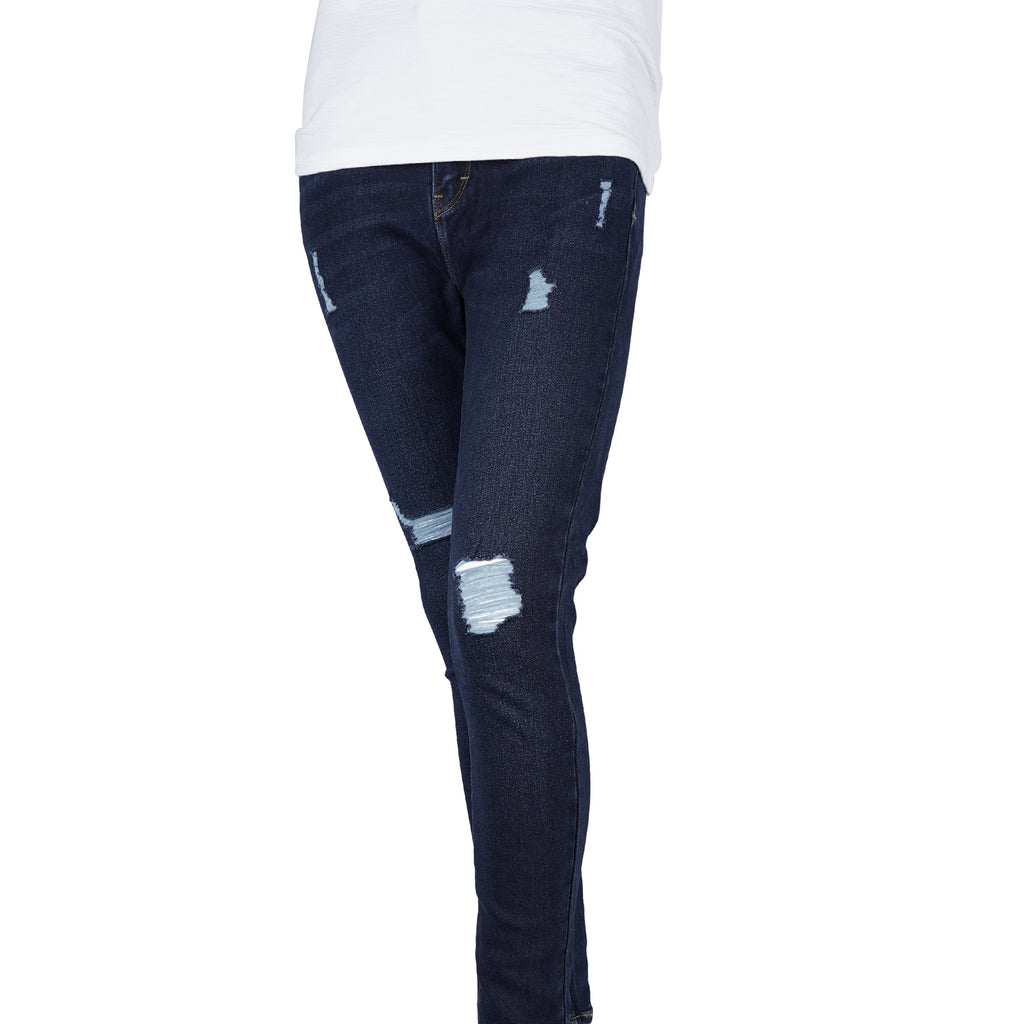 etrol Ladies Basic Denim Super Skinny High-Rise 13371-U (Dark Shade)^