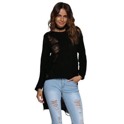 Brief Round Collar Frayed Pure Color Asymmetrical Pullover for Women