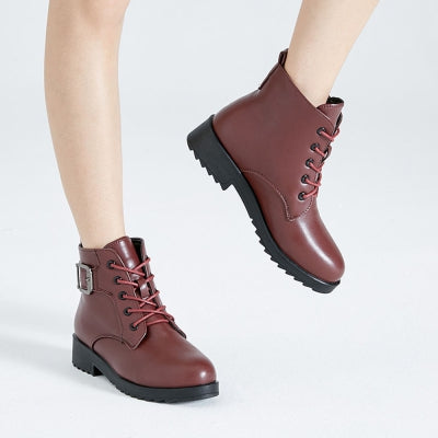 Platform  Winter Warm PU Leather Lace Up Short Boots